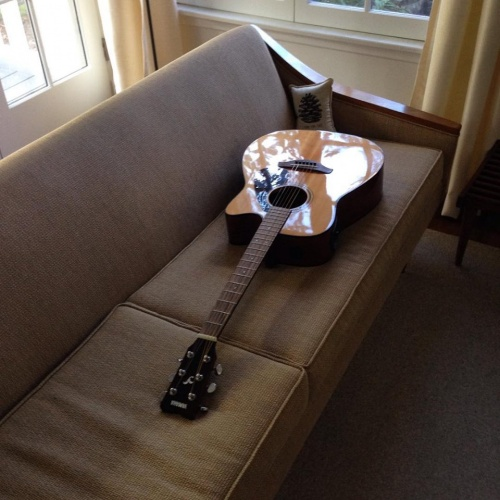 Moby's Guitar on Sofa
